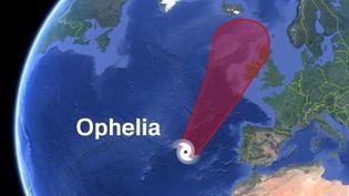 Le parcours prévisionnel de l'ouragan Ophélia (FRANCE 3)
