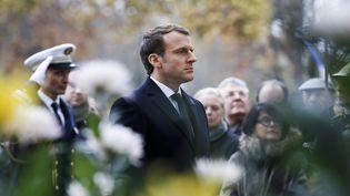 Emmanuel Macron se recueille sur la tombe du soldat inconnu, à Paris, le 11 novembre 2017. (FRANCOIS GUILLOT / AFP)