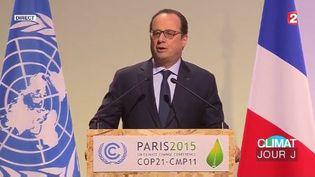 François Hollande, lors de son discours d'ouverture de la COP21, au Bourget, le 30 novembre 2015. (FRANCE 2)
