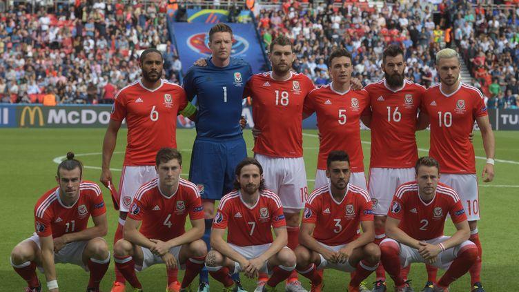 L'équipe du pays de Galles lors du huitième de finale contre l'Irlande du Nord, le 25 juin 2016 à Paris. (GRIGORIY SISOEV / SPUTNIK / AFP)