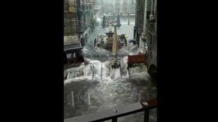 De violentes intempéries frappent actuellement la ville de Catane, en Sicile (Italie). (CAPTURE ECRAN FRANCE 2)