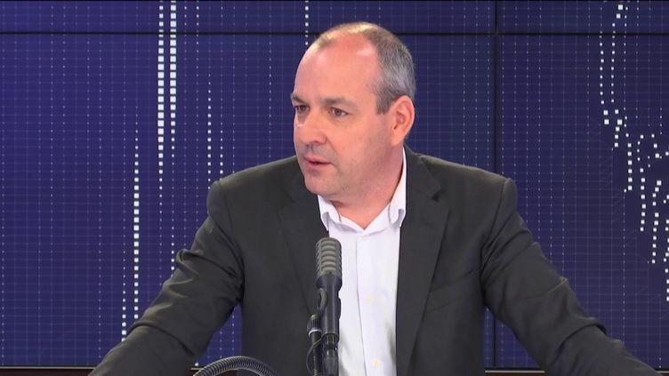Laurent Berger, secrétaire général de la CFDT, était l'invité du 8h30 franceinfo du mardi 2 juin (capture écran). (FRANCEINFO / RADIOFRANCE)