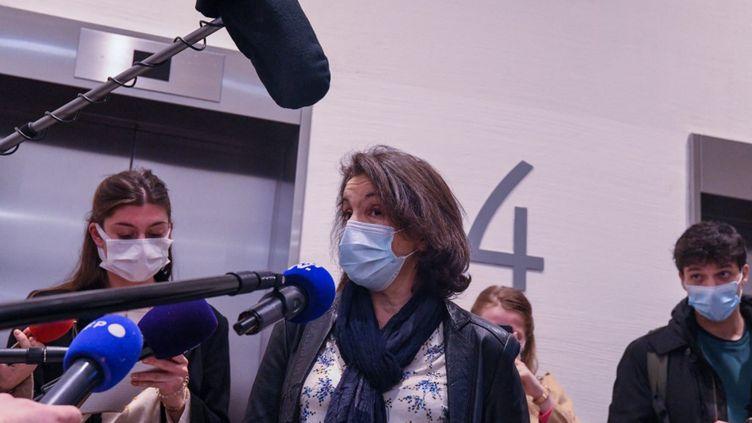 Farida C.au tribunal de Paris, le 22 fevrier 2021. (JEROME LEBLOIS / HANS LUCAS)