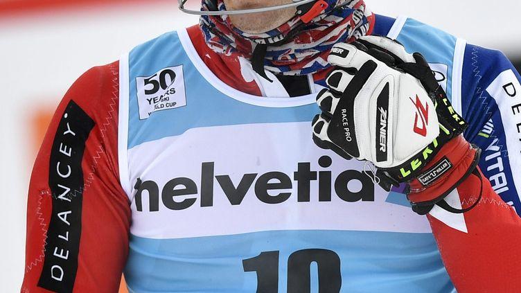 Le slalomeur britannique Dave Ryding à l'arrivée (PETER SCHNEIDER / KEYSTONE)