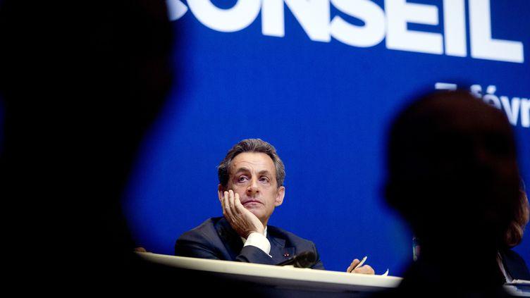 Nicolas Sarkozy, le 7 février 2015 au conseil national de l'UMP. (ALAIN JOCARD / AFP)