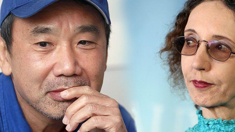 Haruki Murakami et Joyce Carol Oates sont en tête des paris en ligne pour l'attribution du Nobel de littérature  (ENGELSMANN/CARO FOTOS/SIPA et KENZO TRIBOUILLARD / AFP)
