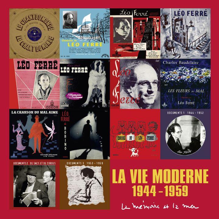 Le dos du coffret avec la reproduction des 14 pochettes originales  (La Mémoire et la Mer)