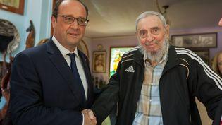 François Hollande en compagnie de Fidel Castro, lors de la visite du président français à Cuba, le 11 mai 2015. (Alex Castro / Cuba Debate / AFP)