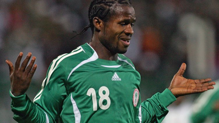 Christian Abodo avec l'équipe nationale du Nigeria, lors de la CAN, le 27 janvier 2006 (ISSOUF SANOGO / AFP)
