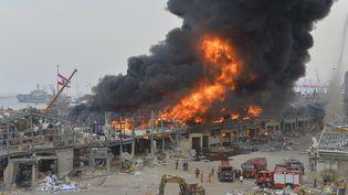 Unimportant incendiea frappé leport de Beyrouth, le 10 septembre 2020 (HOUSSAM SHBARO / ANADOLU AGENCY / AFP)