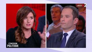 """Marlène Schiappa et Benoît Hamon sur le plateau de """"L'Emission politique"""", le 24 janvier 2019. (FRANCE 2)"""
