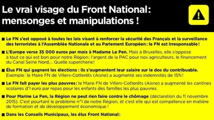 (L'argumentaire anti-FN de Xavier Bertrand dans sa profession de foi © capture d'écran)