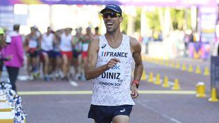 Le Français Yohann Diniz, pendant le 50 km marche, aux Mondiaux d'athlétisme de Londres, le 13 août 2017. (STEPHANE KEMPINAIRE / KMSP / DPPI / AFP)