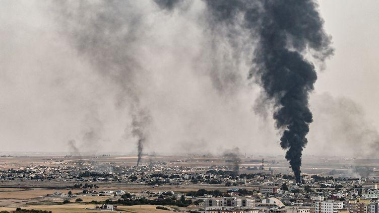 La ville bombardée de Ras al-Aïn, en Syrie, le 16 octobre 2019. (OZAN KOSE / AFP)