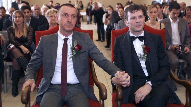 Un couple d'homosexuels est marié symboliquement par le maire communiste de Cabestany près de Perpignan (Pyrénées orientales), le 12 novembre 2011. (RAYMOND ROIG / AFP)