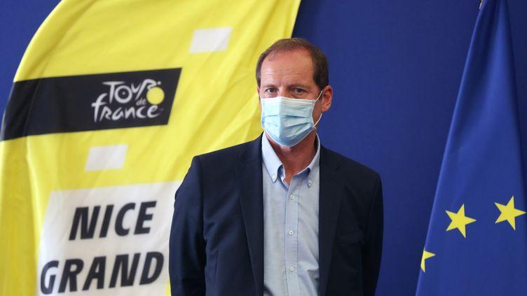 Le directeur du Tour de France, Christian Pruhomme, le 19 août 2020 à Nice (Alpes-Maritimes), lors d'une conférence de presse avant le départ de la 107e édition. (VALERY HACHE / AFP)