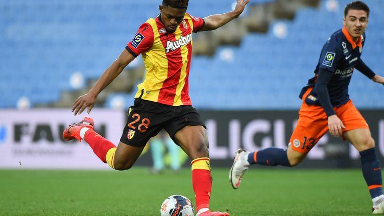 Cheick Doukouré ouvre le score pour Lens contre Montpellier, samedi 30 janvier (SYLVAIN THOMAS / AFP)