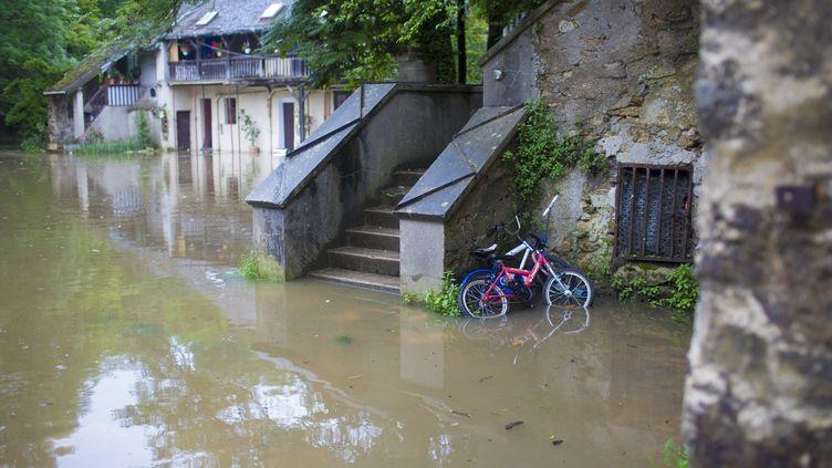 Vallée de l'Yerres inondée , le 2 juin 2016 versMontgeron et Crosnes (CYRIL ABAD / HANS LUCAS / AFP)