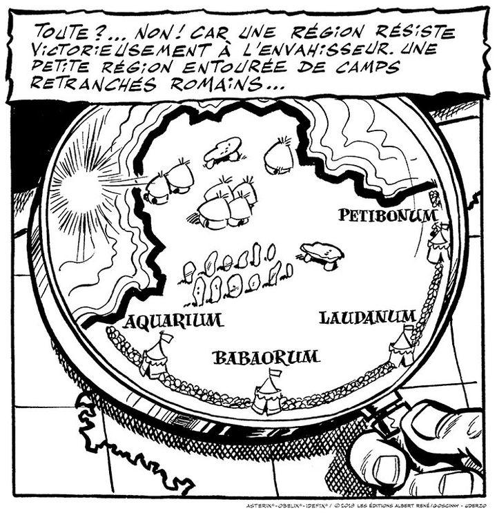 Carte d'Astérix telle qu'elle apparaît dans la première planched'Astérix le Gaulois, 1959. (ASTERIX ® OBELIX ® IDEFIX ® © 2019 LES EDITIONS ALBERT RENE / GOSCINNY-UDERZO)