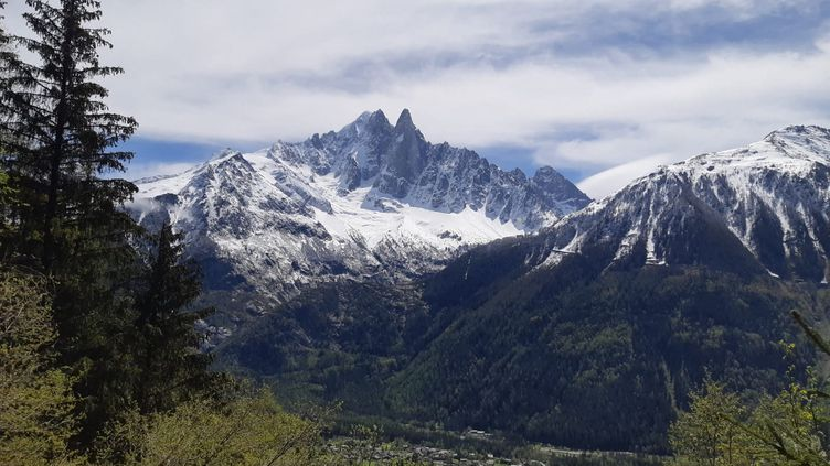 Le massif du Mont-Blanc vu depuis Chamonix (Haute-Savoie), le 20 juin 2021. (ANABELLE GALLOTTI / FRANCE-BLEU PAYS DE SAVOIE)