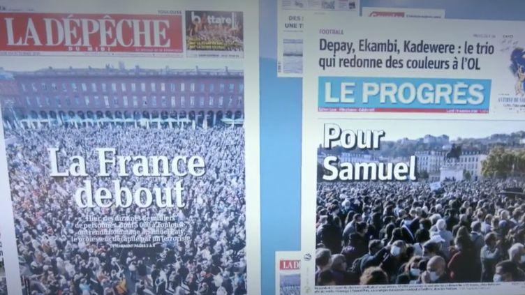 Lundi 19 octobre, la presse quotidienne régionale aborde les hommages rendus à Samuel Paty, la mort d'un migrant à Sangatte ainsi qu'un conflit social en Martinique. (France 2)