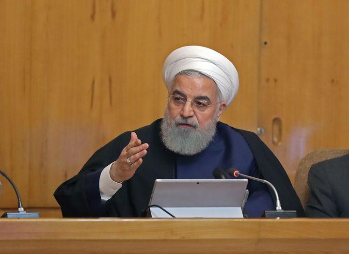 Le président iranien Hassan Rohani, lors de la réunion de son cabinet, le 8 mai 2019 à Téhéran (Iran). (PRESIDENCE IRANIENNE / AFP)