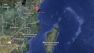 Le naufrage du ferry s'est produit entre Dar es Salaam (Tanzanie) et l'archipel Zanzibar. (GOOGLE MAPS / FTVI)
