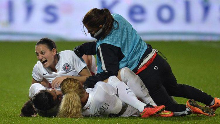 La joie des joueuses du PSG en Ligue des champions (JEFF PACHOUD / AFP)