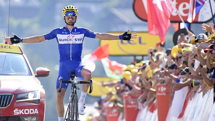 Julian Alaphilippe, vainqueur au Grand Bornand lors de la 10e étape du Tour de France 2018, le 17 juillet 2017.