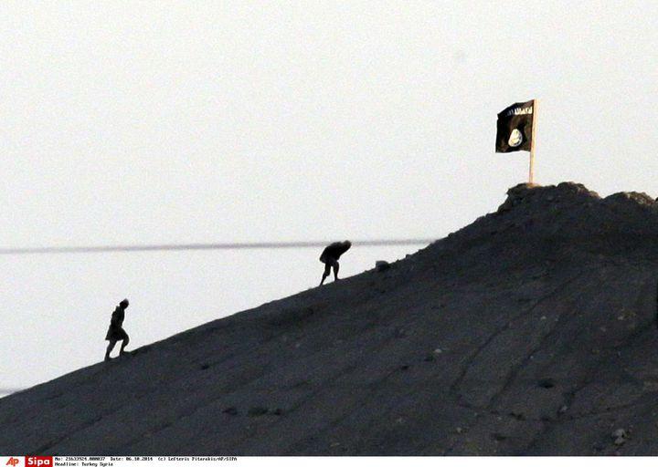 Des combattants de l'Etat islamique sur une colline à l'est de Kobani, le 6 octobre 2014. (LEFTERIS PITARAKIS / AP / SIPA)