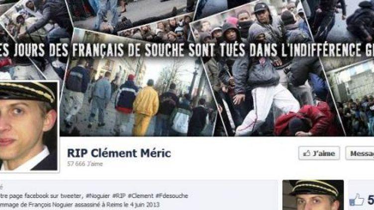 Capture d'écran Facebook de la page d'hommage à Clément Méric piratée. En médaillon, la photo de François Noguier, un étudiant tué le 4 juin. (DR)