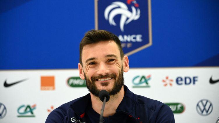 Hugo Lloris en conférence de presseà la veille du match face au Pays de galles,le 1er juin 2021 (FRANCK FIFE / POOL)