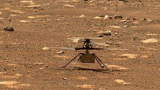 """Une photo de la Nasa montrant l'hélicoptère """"Ingenuity"""" sur Mars, le 7 avril 2021. (NASA / JPL-CALTECH / MSSS / AFP)"""