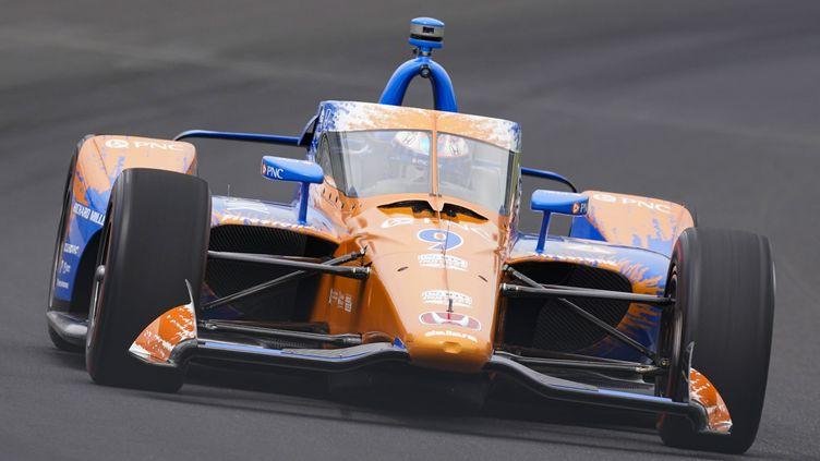 Scott Dixon (Chip Ganassi) partira en pole position des 500 miles d'Indianapolis pour la 4e fois de sa carrière. (MICHAEL CONROY/AP/SIPA / SIPA)