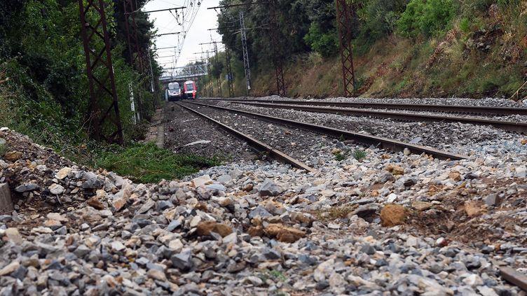 Un éboulis sur une voie ferrée près de Montpellier (Hérault) le 23 août 2015. (ALEXANDRE DIMOU / AFP)
