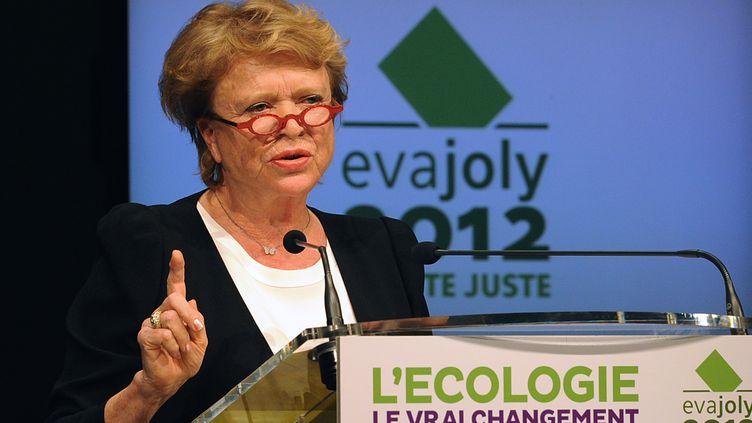 La candidate écologiste à la présidentielle, Eva Joly, en meeting à Talence (Gironde), le 28 mars 2012. (PIERRE ANDRIEU / AFP)