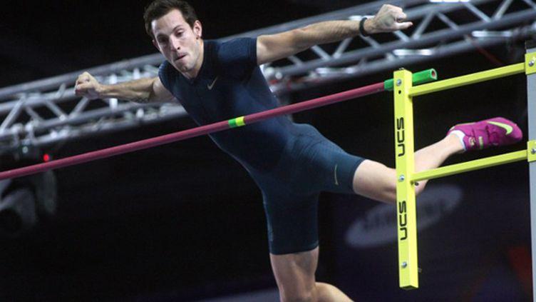 Renaud Lavillenie était devenu recordman du monde de la perche dans la salle mythique de Donetsk (ALEXANDER KHUDOTEPLY / AFP)