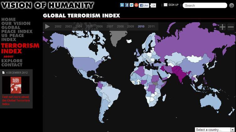 Les pays les plus touchés sont l'Irak, l'Afghanistan et le Pakistan. (INSTITUTE FOR ECONOMICS AND PEACE / FRANCETV INFO)