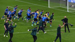 L'Italie célèbre sa victoire en finale de l'Euro 2021. (FACUNDO ARRIZABALAGA / POOL)