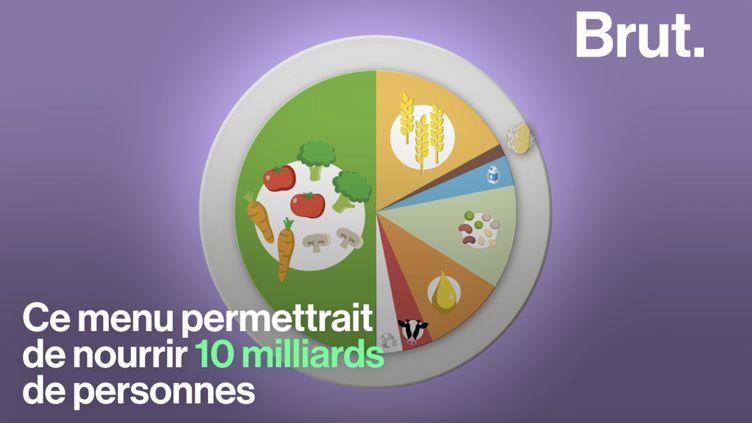 VIDEO. Un steak par semaine, plus de fruits et légumes... Voici le menu qui devrait permettre de nourrir l'humanité en 2050 (BRUT)