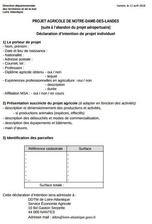 """Capture d'écran du document intitulé""""projet agricole de Notre-Dame-des-Landes, déclaration d'intention"""" mis en place par l'Etat à l'adresse des zadistes, le 12 avril 2018. (PREFECTURE DE LOIRE-ATLANTIQUE)"""