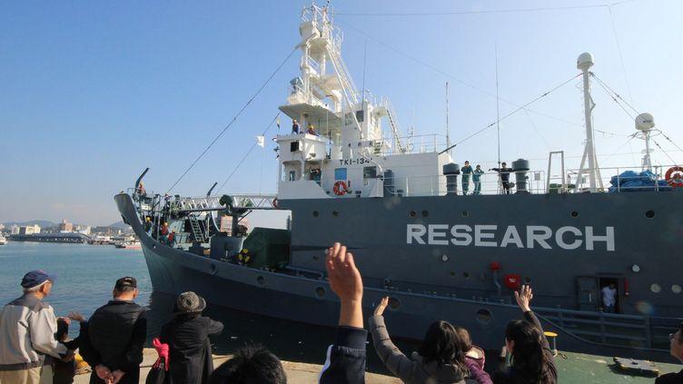 Ce navire quitte le port de Shimonoseki à l'ouest du Japon, le 1er décembre 2015. Il va reprendre la chasse à la baleine dans l'Antarctique après une pause d'un an. Cette pause avait été imposée par la justice internationale. Sur la coque du navire on peut lire «research», les Japonais affirmant que la chasse aux mammifères marins a des motifs scientifiques... Ce que nient les écologistes. (JIJI PRESS / AFP)