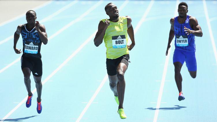 Usain Bolt lors du 200m à New-York (AL BELLO / GETTY IMAGES NORTH AMERICA)