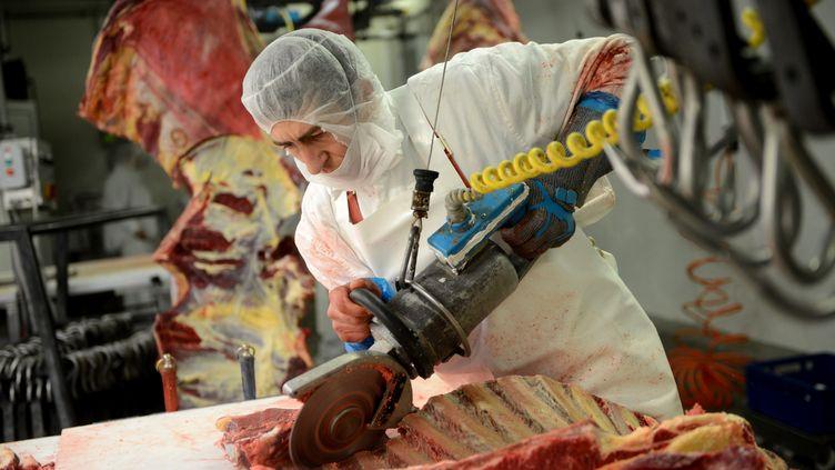 Un ouvrier travaille dans l'un des abattoirs d'une société roumaine exportatrice de viande chevaline en Europe, le 12 février 2013. (DANIEL MIHAILESCU / AFP)