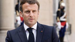 Le président de la République, Emmanuel Macron, à l'Elysée, à Paris, le 29 avril 2021. (LUDOVIC MARIN / AFP)
