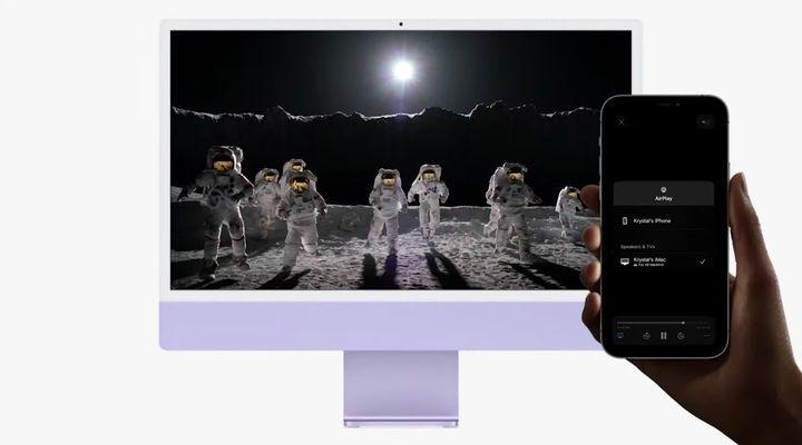Un utilisateur diffuse une vidéo depuis son iPhone vers son iMac à l'aide d'AirPlay. (APPLE)
