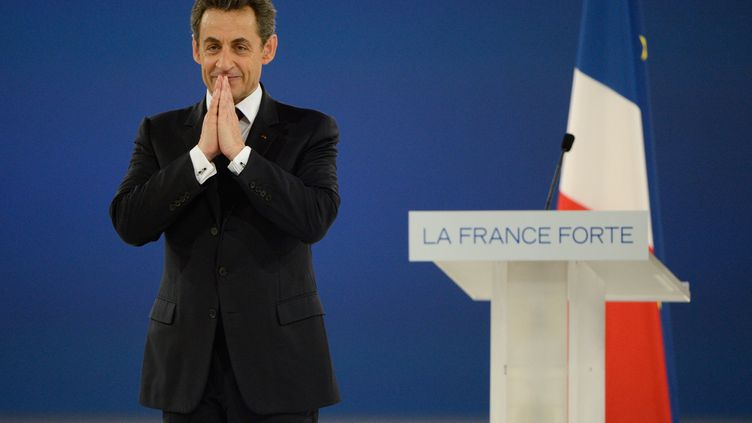 Le président candidat Nicolas Sarkozy à l'issue de son discours de campagne de Villepinte, le 11 mars 2012. (ERIC FEFERBERG / AFP PHOTO)