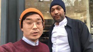 Le député Joachim Son-Forget et le chanteur Doc Gyneco, le 31 janvier 2019. (JOACHIM SON-FORGET / TWITTER.COM)