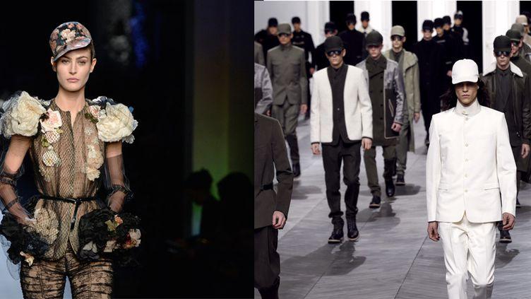 DéfilésJean Paul Gaultier hc pe 2015 et Kris Va, Assche pap ah 2012-13, à Paris  (MIGUEL MEDINA et FRANCOIS GUILLOT / AFP)