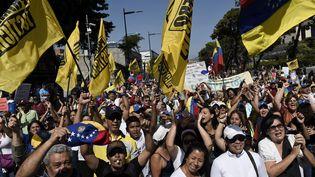 A Caracas, l'opposition est descendue dans la rue pour soutenir le chef de l'opposition, Juan Guaido, chef de l'Etat autoproclamé, et pour obtenir le départ du président vénézuelien, Nicolas Maduro, le 2 février 2019. (FEDERICO PARRA / AFP)